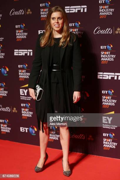 Princess Beatrice of York poses on the red carpet during the BT Sport Industry Awards 2017 at Battersea Evolution on April 27, 2017 in London,...
