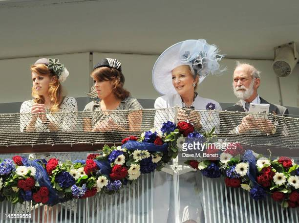 Princess Beatrice of York Princess Eugenie of York Princess Michael of Kent and Prince Michael of Kent attend Investec Derby Day at the Investec...