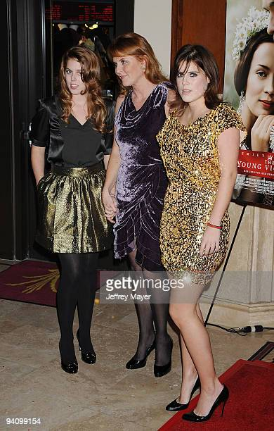 Princess Beatrice of York, Sarah Ferguson and Princess Eugenie of York arrive at The Young Victoria Los Angeles Premiere at the Pacific Theatres at...