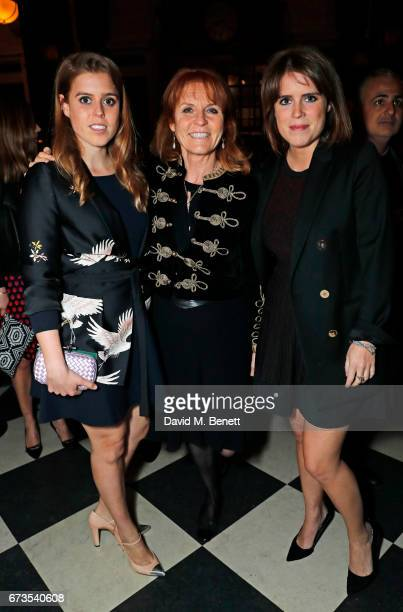 Princess Beatrice of York, Sarah Ferguson, Duchess of York and Princess Eugenie of York attend the launch of The Ned, London on April 26, 2017 in...