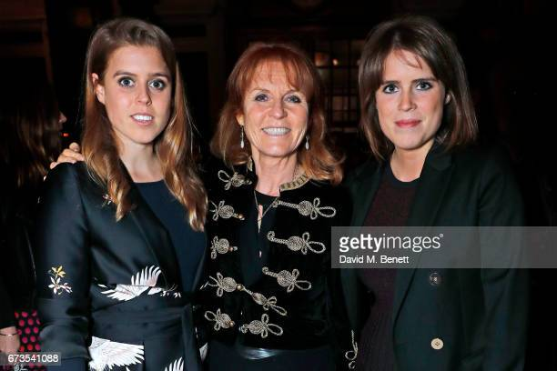 Princess Beatrice of York Sarah Ferguson Duchess of York and Princess Eugenie of York attend the launch of The Ned London on April 26 2017 in London...