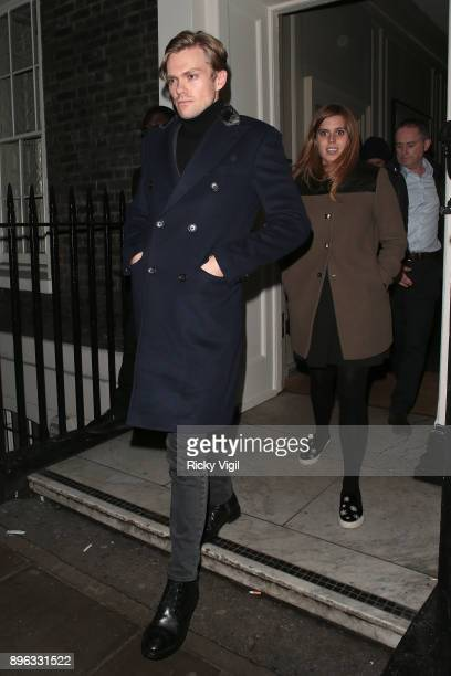 Princess Beatrice of York seen on a night out leaving Soho House on December 20 2017 in London England