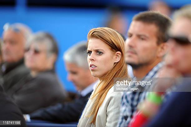 Princess Beatrice of York watches the Radek Stepanek of Czech Republic and Rafael Nadal of Spain Men's Singles third round match on day four of the...