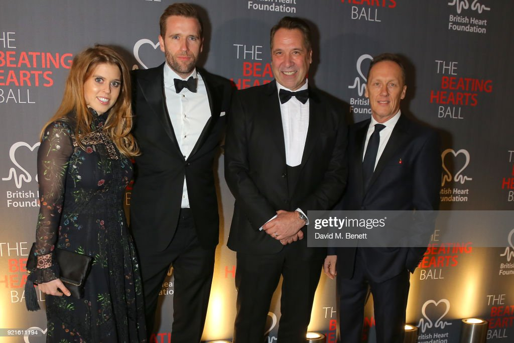 Princess Beatrice of York, Wilfred Frost, David Seaman and Lee Dixon attend the British Heart Foundations Beating Hearts Ball at The Guildhall on February 20, 2018 in London, England.
