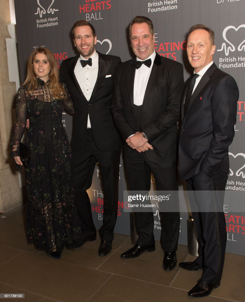 Princess Beatrice of York, Wilfred Frost, David Seaman and Lee Dixon attend the British Heart Foundation's 'The Beating Hearts Ball' at The Guildhall on February 20, 2018 in London, England.