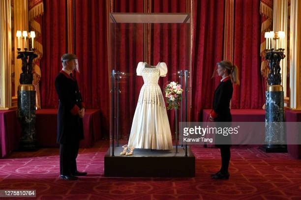 Princess Beatrice of York's wedding dress on display at Windsor Castle on September 23, 2020 in Windsor, England. Princess Beatrice and Edoardo...