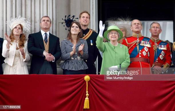 Princess Beatrice Prince Andrew Duke of York Princess Eugenie Prince William Queen Elizabeth II Prince Philip Duke of Edinburgh and Prince Charles...