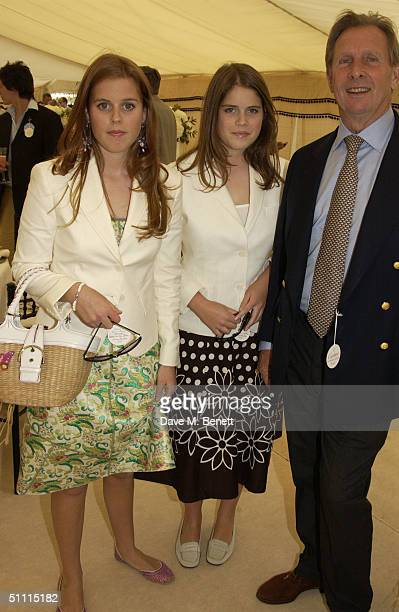Princess Beatrice, Princess Eugenie and Paddy McNally attend the Cartier International Day held at Guards Polo Club, Windsor Great Park on July 25,...