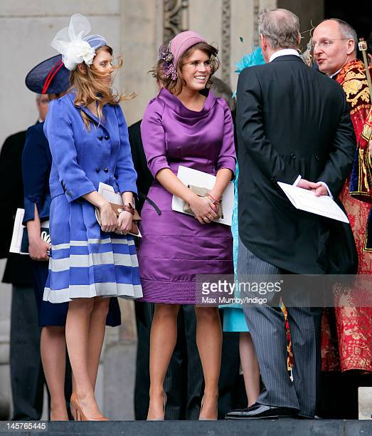 Princess Beatrice Princess Eugenie and Prince Andrew Duke of York attend a Service of Thanksgiving to celebrate Queen Elizabeth II's Diamond Jubilee...