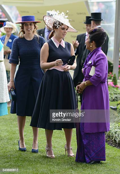 Princess Beatrice Princess Eugenie and Princess Sarvath alHassan attend day 3 of Royal Ascot at Ascot Racecourse on June 16 2016 in Ascot England