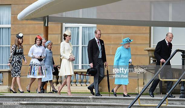 Princess Beatrice Princess Eugenie Prince William Duke of Cambridge Catherine Duchess of Cambridge Queen Elizabeth II and Prince Philip Duke of...