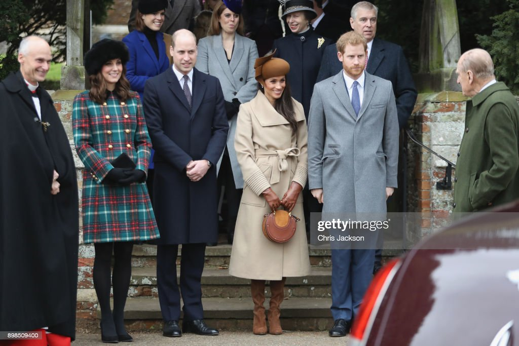 Members Of The Royal Family Attend St Mary Magdalene Church In Sandringham : Nachrichtenfoto