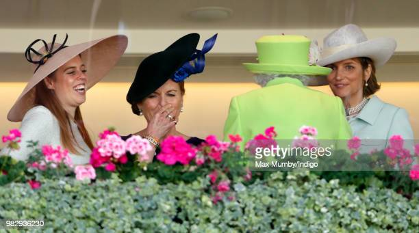 Princess Beatrice Sarah Duchess of York and Lady Carolyn Warren seen talking with Queen Elizabeth II in the Royal Box before watching The Queen's...