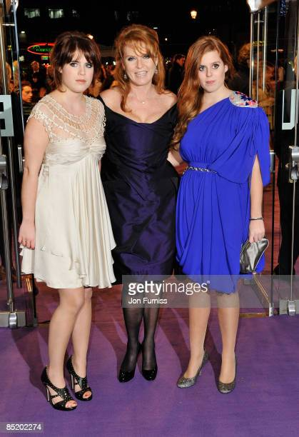 Princess Beatrice , Sarah Ferguson and Princess Eugenie arrive for 'The Young Victoria' World Premiere held at the Odeon, Leicester Square on March...