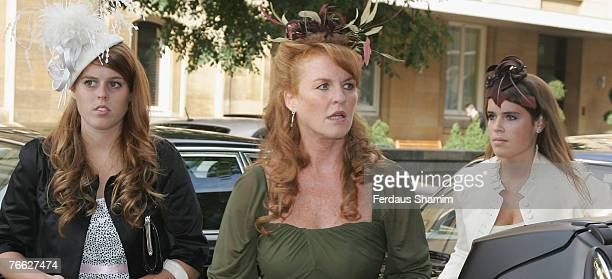 Princess Beatrice Sarah Ferguson and Princess Eugenie attend the wedding of Chloe Delevingne and Louis Buckworth on September 7 2007 in London England
