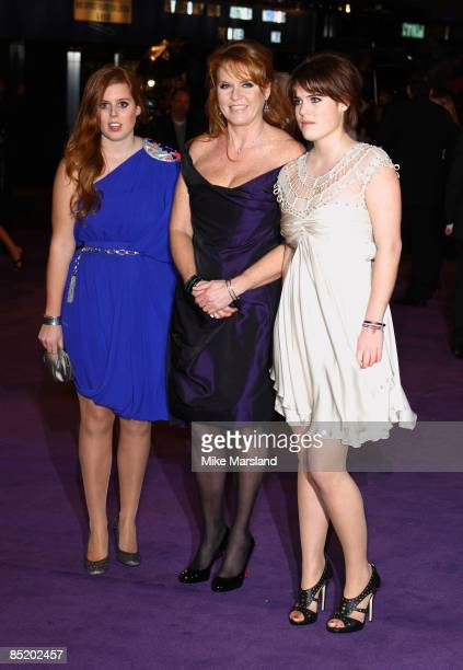 Princess Beatrice , Sarah Ferguson and Princess Eugenie attend the World Premiere of The Young Victoria at Odeon Leicester Square on March 3, 2009 in...