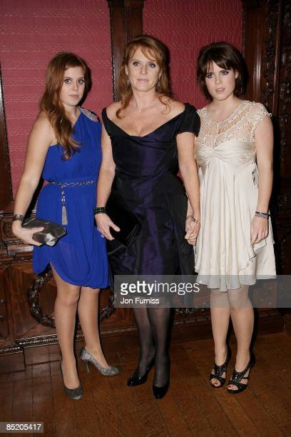 Princess Beatrice, Sarah Ferguson and Princess Eugenie attends the Young Victoria afterparty at Kensington Palace on March 3, 2009 in London, England.