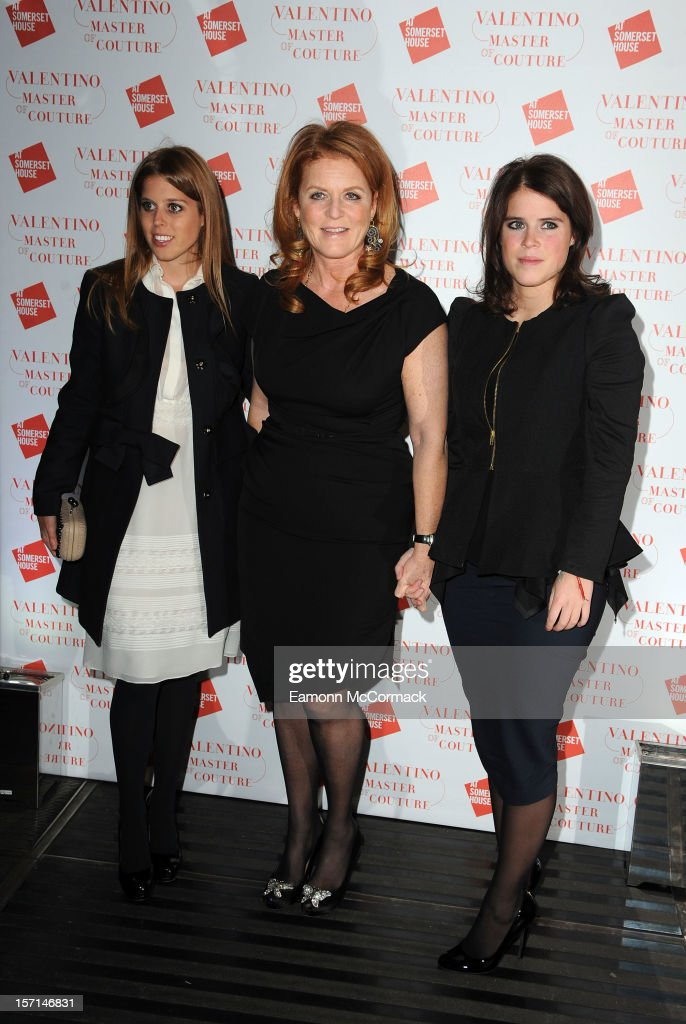 Princess Beatrice, Sarah Ferguson Duchess of York and Princess Eugenie attend the VIP view of Valentino: Master of Couture at Embankment Gallery on November 28, 2012 in London, England.