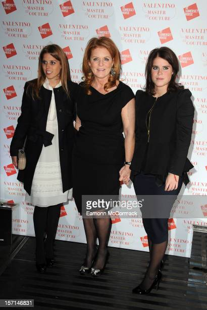Princess Beatrice Sarah Ferguson Duchess of York and Princess Eugenie attend the VIP view of Valentino Master of Couture at Embankment Gallery on...
