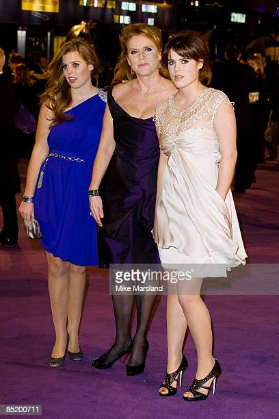 Princess Beatrice, Sarah Ferguson, Duchess of York and Princess Eugenie attend the World Premiere of The Young Victoria at Odeon Leicester Square on...
