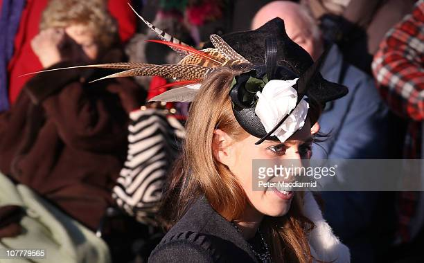 Princess Beatrice smiles after attending the Christmas Day Church Service at St Mary's Church on December 25, 2010 in Sandringham, England. The...
