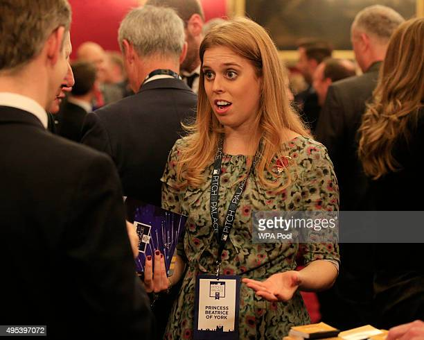 Princess Beatrice speaks to guests during the Pitch@Palace entrepreneurial event at St James's Palace on November 2 2015 in London United Kingdom