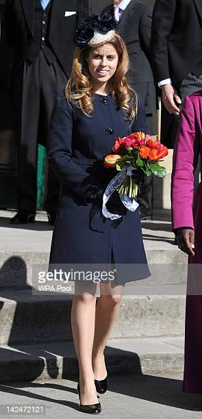 Princess Beatrice stands outside the Yorkshire Museum after the Royal Maundy Service held in York Minster on April 5 2012 in York England