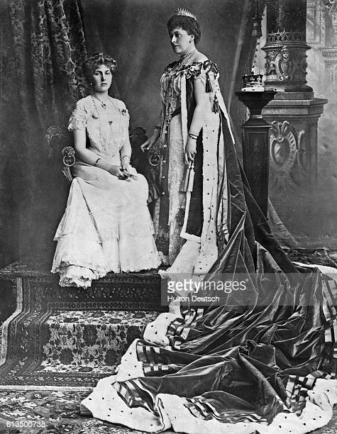 Princess Beatrice the youngest daughter of Queen Victoria with her daughter Princess Ena at the time of Edward VII's 1902 Coronation