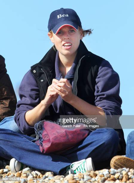 Princess Beatrice watches her boyfriend Dave Clark take part in Sir Richard Branson's kiteboarding attempt across the English Channel to celebrate...