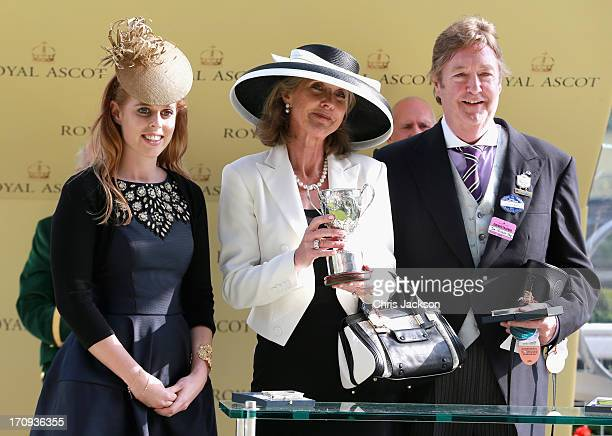 Princess Beatrice who presented The King George V Stakes Cup to Julia and Jon Aisbitt owners of Elidor ridden by Martin Harley on Ladies' Day during...