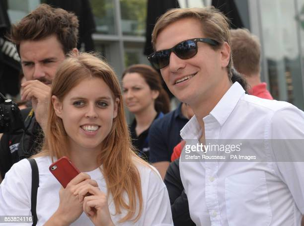 Princess Beatrice with her boyfriend David Clark watches the start of the Virgin Strive Challenge at the O2 Arena which will see a team of adventures...