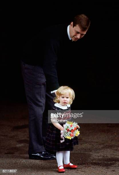 Princess Beatrice With Her Father Prince Andrew On The Way To Visit Her New Baby Sister At The Portman Hospital