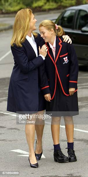 Princess Beatrice with her mother Sarah Duchess of York starting at her new school St George's Ascot 6th September 2000