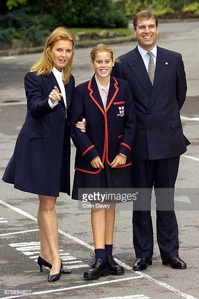 Princess Beatrice with her parents the Duke and Duchess of York starting at her new school St George's Ascot 6th September 2000