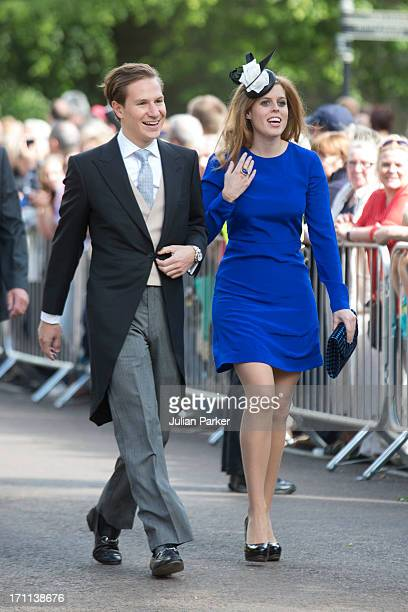 Princess Beatriceand boyfriend Dave Clark attend the wedding of Melissa Percy and Thomas van Straubenzee at St Michael's Church on June 22 2013 in...