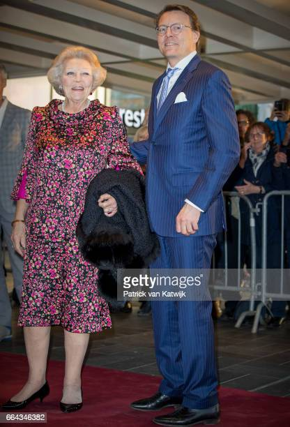Princess Beatrix and her son Prince Constantijn of the Netherlands arrive at Theater Tilburg for the Kingsday concert on April 4 2017 in Tilburg The...