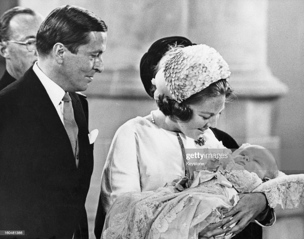 Princess Beatrix and Prince Claus with their son Prince Willem-Alexander during his christening in the Hague, 2nd September 1967.