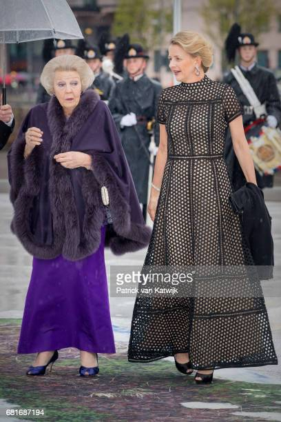 Princess Beatrix and Princess Mabel of OrangeNassau arrive at the Opera House on the ocassion of the celebration of King Harald and Queen Sonja of...