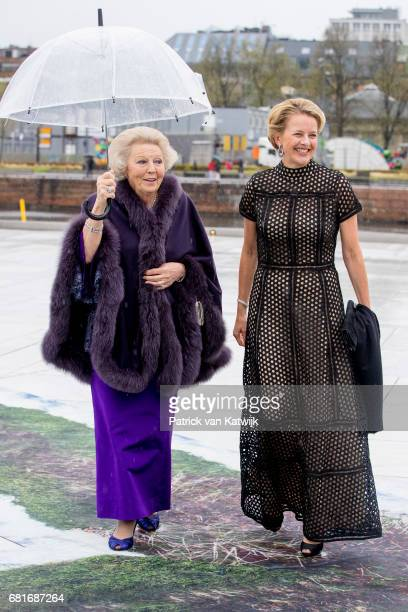 Princess Beatrix and Princess Mabel of Orange-Nassau arrive at the Opera House on the ocassion of the celebration of King Harald and Queen Sonja of...