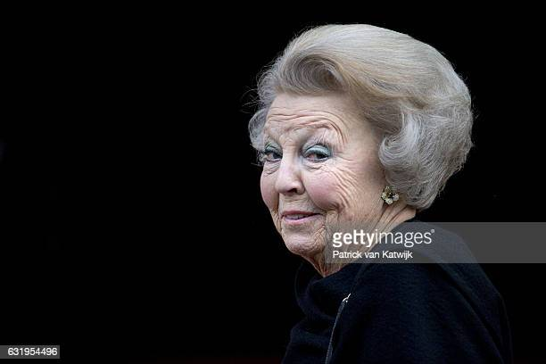 Princess Beatrix arrives at the new year reception for the diplomatic corps arrives at the royal palace on January 18, 2017 in Amsterdam, Netherlands.