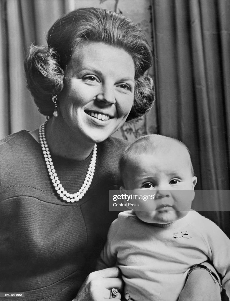 Princess Beatrix, Crown Princess of Holland, and heir to the throne, photographed on the occasion of her 30th birthday with her 8 month old son Prince Willem-Alexander, 20th January 1968.