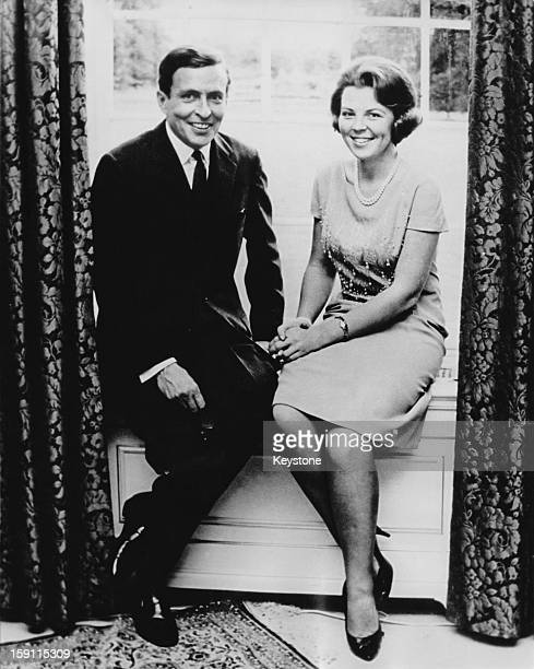 Princess Beatrix, later Queen Beatrix of the Netherlands with her fiance Claus van Amsberg, June 1965.