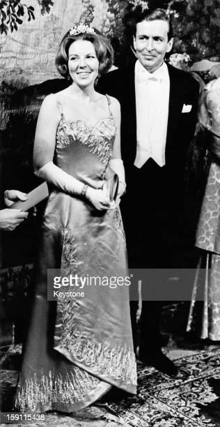 Princess Beatrix, later Queen Beatrix of the Netherlands with her fiance Claus van Amsberg, during a formal banquet at the Prinsenhof in Delft,...