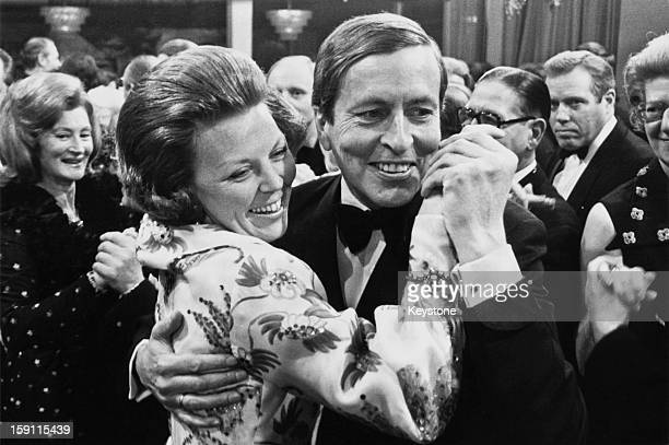 Princess Beatrix, later Queen Beatrix of the Netherlands with her husband Prince Claus during an international press ball in Amsterdam, 1973.