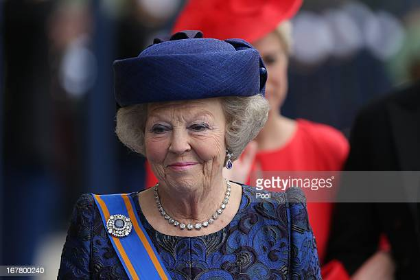 Princess Beatrix leaves following the inauguration ceremony of King Willem Alexander of the Netherlands and Queen Maxima of the Netherlands at New...