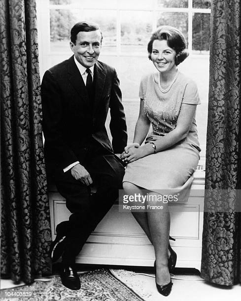 Princess BEATRIX of Holland and her fiance CLAUS VON AMSBERG posing together the day of the announcement of the date of their wedding Their civilian...