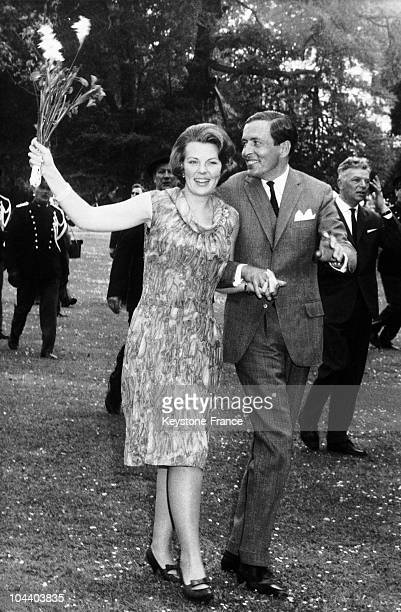 Princess BEATRIX of Holland and Prince CLAUS VON AMSBERG announcing their wedding. Queen JULIANA abdicated on April 30 and Princess BEATRIX succeeded...