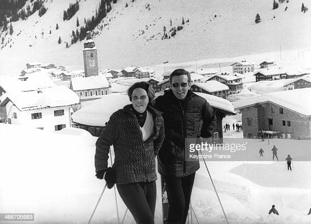 Princess Beatrix of Netherlands and her fiance Claus von Amsberg on skiing holiday on January 31, 1966 in Lech, Austria.