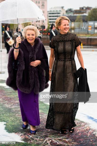 Princess Beatrix of Netherlands and Princess Mabel of OranienNassau arrive for a gala dinner at the Operahouse in Oslo on May 10 2017 in celebration...
