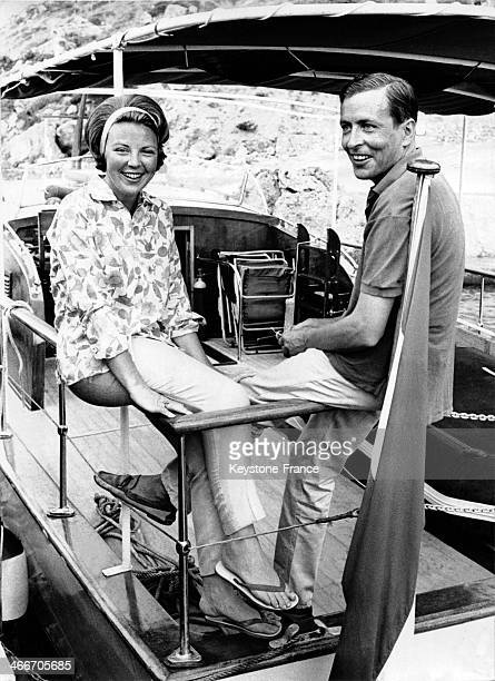 Princess Beatrix of Netherlands on holiday with her fiance Claus Von Amsberg on July 26 1965 in Porto Ercole Italy